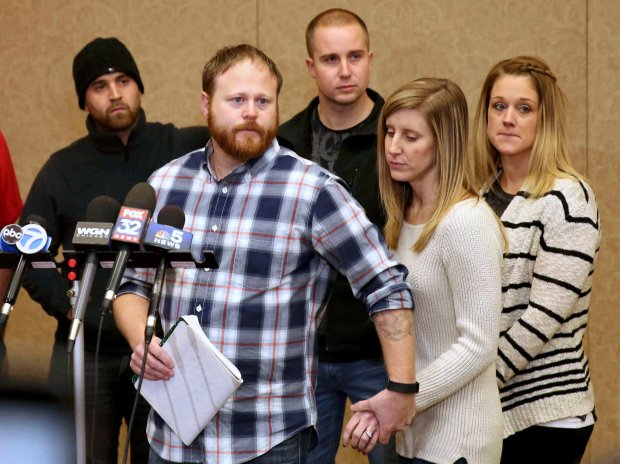 David Boyd, the victim's brother-in-law, and other members of the family hold a news conference Thursday, Jan. 5, 2017, in Crystal Lake, Ill. (Patrick Kunzer/Daily Herald via AP)