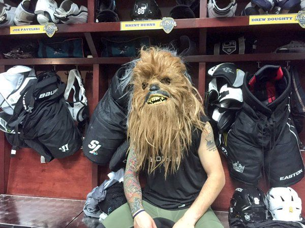 At last season's NHL All-Star game, Brent Burns donned a Chewbacca mask to wear during the skills competition. (Courtesy San Jose Sharks.)
