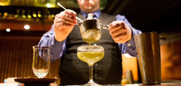 A cross between a daiquiri and a margarita -- with an unexpectedaphrodisiac ingredient thrown in -- the Ahuacatl cocktail is double-strained before it hits the glass, a salt-and-pepper-rimmed coupe, says Roka Akor's Mark Guillaudeu. (Photo courtesy of Noelle Chun)