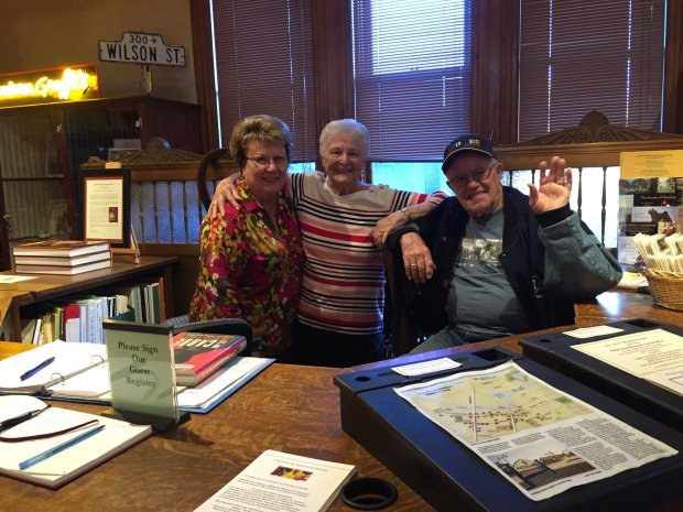 ANGELA HILL/STAFFIf you're lucky, you'll run into docent Sandra Wilkins, left, and wife-and-husband volunteers Ronnie and Robert Harriott at the Petaluma Historical Library & Museum.
