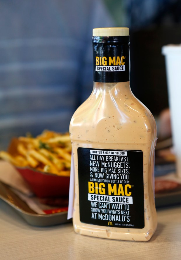 A bottle of Big Mac Special Sauce sits on a customer's table following a free giveaway at the Union Ave. McDonald's in San Jose, Calif., on Thursday, Jan. 26, 2017. For the first time, McDonald's is giving out 10,000 bottles of the special sauce nationwide. Only a limited number of bottles were given out at two Bay Area locations. (Gary Reyes/Bay Area News Group)