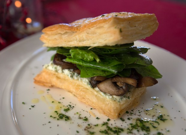 Goat Cheese, Mushroom and Spinach Napoleon photographed at the International Culinary Center in Campbell, Calif., Friday, Jan. 27, 2017. The dish is part of a three course meal that any novice can pull off for Valentine's Day--even if you forgot the holiday. (Patrick Tehan/Bay Area News) Group)