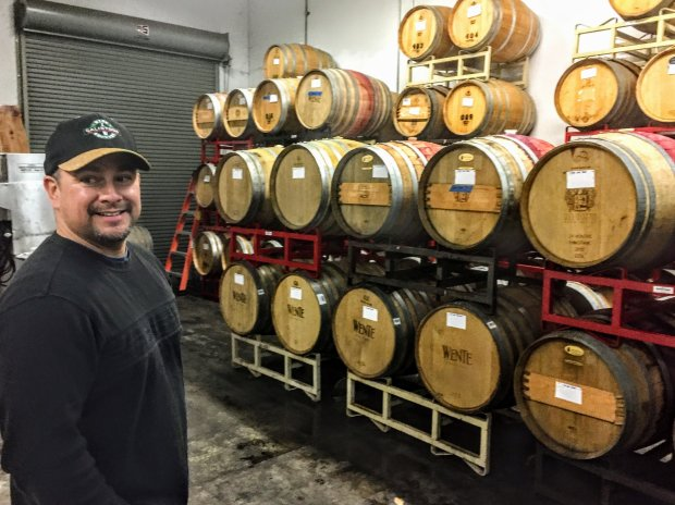 Leisure Street Winery co-founder and winemaker Rick Volpatti in hisLivermore Valley barrel room and winery. Photo credit: Mary Orlin/Bay Area News Group