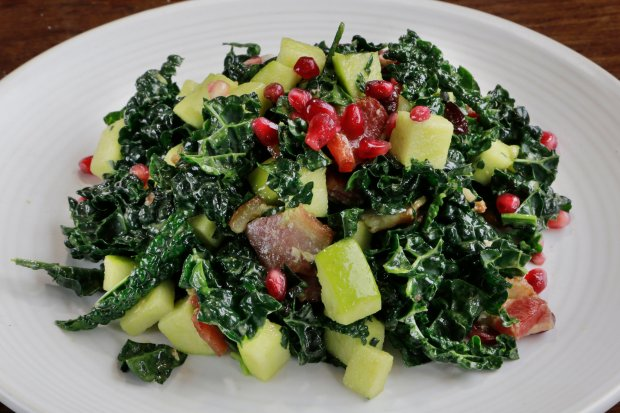 Pizza Antica's kale chopped salad with bacon, apples, cranberries, pomegranate and lemon-chive dressing at the Strawberry Village Shopping Center at 800 Redwood Highway in Mill Valley, Calif. Wednesday, Jan. 18, 2017. (James Cacciatore/Special to the Marin Independent Journal)