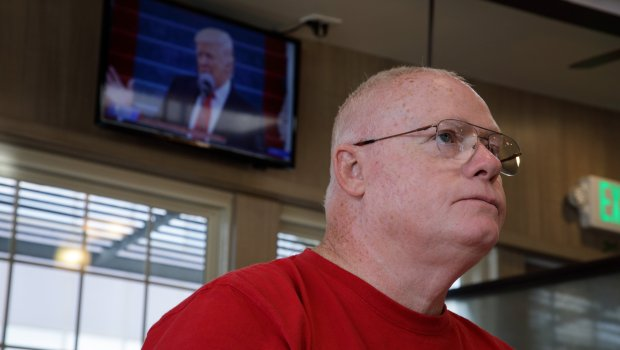 A Trump supporter Bob Jackson of San Jose watches the 45th U.S. President Donald Trump addresses the nation, at The Mini Gourmet in San Jose on Jan. 20, 2017. (Dai Sugano/Bay Area News Group)