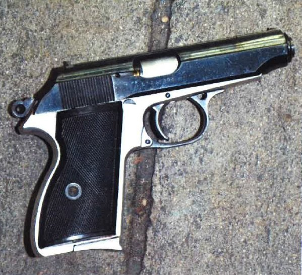 Pictured is a police photograph of a handgun that 29-year-old Matthew Castillo reportedly pointed at officers before he was fatally shot in front of a Senter Road laundromat on Aug. 16, 2015, three days after a North San Jose killing for which Castillo was a suspect.