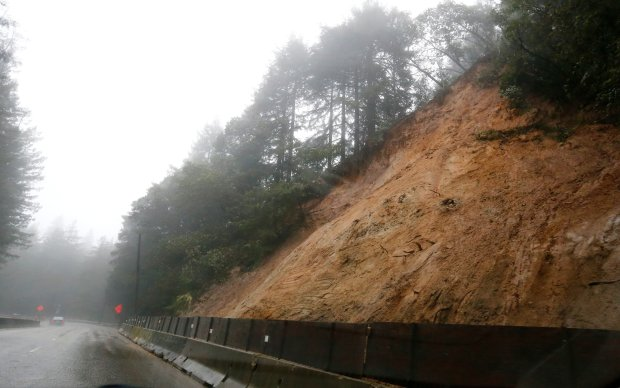 Highway 17 is clear following the repair of yesterday's mudslide north of Scotts Valley, Calif., on Tuesday, Jan. 10, 2017. (Gary Reyes/Bay Area News Group)