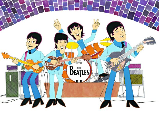 """Live at the Cavern"" is one of the paintings animator Ron Campbell createdbased on his work on ""The Beatles"" cartoon show that ran on ABC in the mid-1960s. (Image courtesy Scott Segelbaum)"
