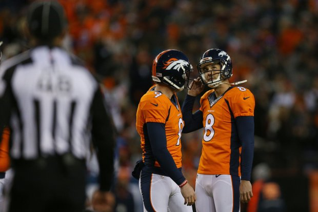 DENVER, CO - JANUARY 1: Kicker Brandon McManus #8 of the Denver Broncos reacts to missing a field goal in the fourth quarter of the game against the Oakland Raiders at Sports Authority Field at Mile High on January 1, 2017 in Denver, Colorado. (Photo by Justin Edmonds/Getty Images)