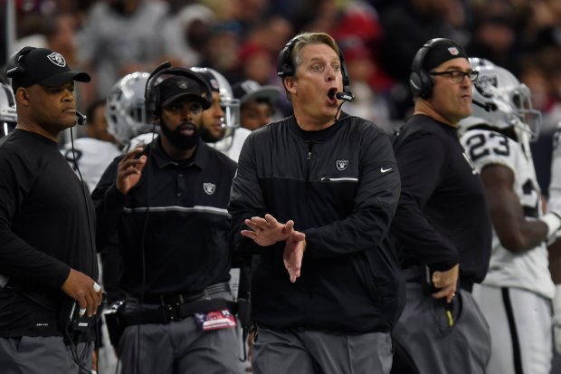 Oakland Raiders head coach Jack Del Rio gestures to his players while playing the Houston Texans in the first quarter of the AFC West Wild Card round game at the NRG Stadium in Houston, Texas, on Saturday, Jan. 7, 2017. (Jose Carlos Fajardo/Bay Area News Group)