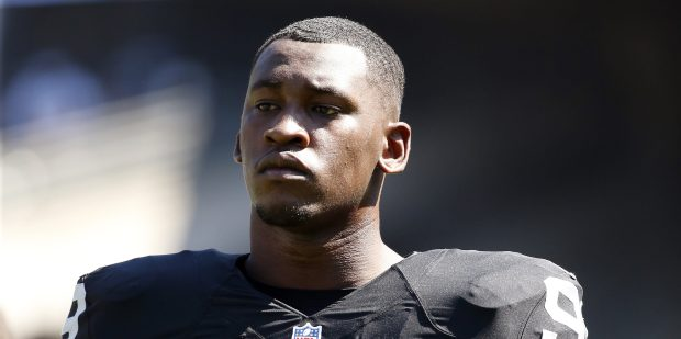 Oakland Raiders defensive end Aldon Smith (99) during an NFL football game against the Baltimore Ravens Sunday, Sept. 20, 2015, in Oakland , Calif. (AP Photo/Tony Avelar)