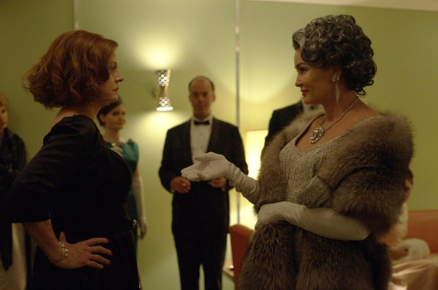 """Susan Sarandon as Bette Davis and Jessica Lange as Joan Crawford in FX's""""Feud: Bette and Joan."""" FX --"""