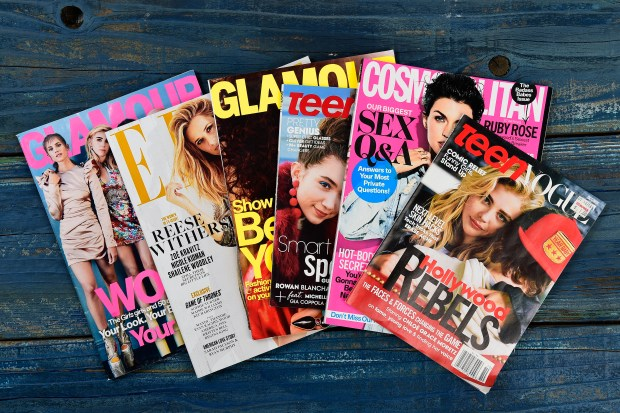 A selection of women's magazines photographed in the studio in Walnut Creek, Calif. on Thursday, Feb. 16, 2017. Publications like Glamour, Teen Vogue or Cosmopolitan that have historically confined themselves mostly to tips on fashion, beauty and boyfriends. In the past few years, mainstream magazines geared towards young women have gotten into the business of covering news and politics and that's in response to several trends: the increasing relevance of feminism and political engagement in young women's lives, especially with a female president candidate leading a major political party. (Jose Carlos Fajardo/Bay Area News Group)
