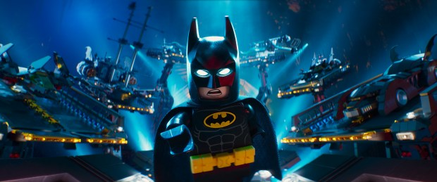 """This image released by Warner Bros. Pictures shows Batman, voiced by Will Arnett, in a scene from """"The LEGO Batman Movie."""" (Warner Bros. Pictures via AP)"""