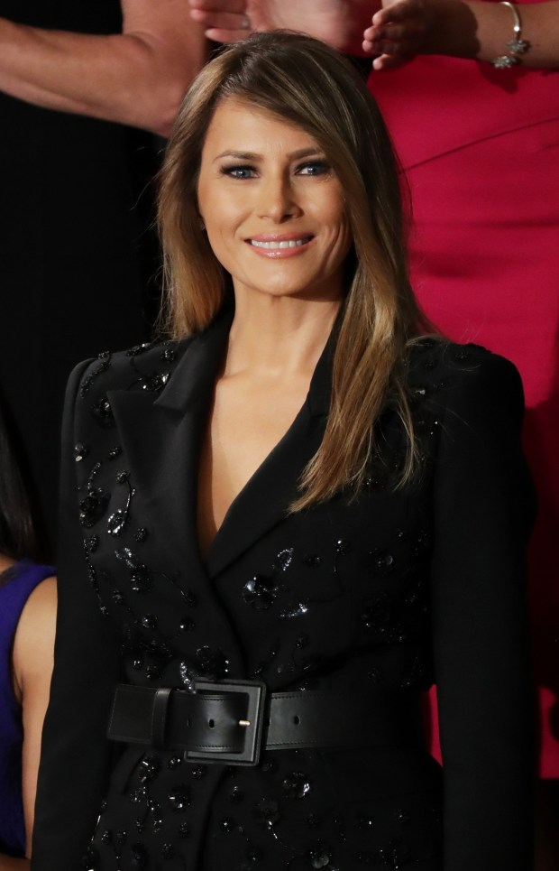 First lady Melania Trump arrives to a joint session of the U.S. Congress with U.S. President Donald Trump Tuesday night. (Photo by Chip Somodevilla/Getty Images)