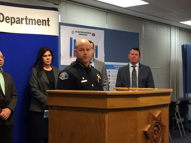 San Jose Police Chief Eddie Garcia, flanked by Vice Mayor Magdalena Carrasco and police union President Paul Kelly, discusses a new recruitment campaign bolstered by a new officer contract, at SJPD headquarters on Feb. 7, 2017.