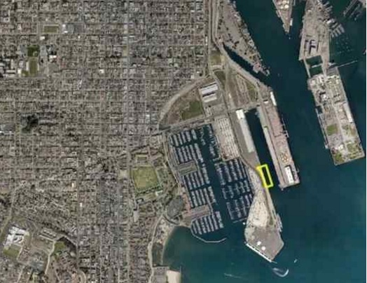 This aerial view shows the area (marked in yellow) that SpaceX will rent from the Port of Los Angeles to dock and unload its reusable Falcon 9 rockets when they land at sea, if the Harbor Commission approves deal Thursday. (Courtesy Port of LA)