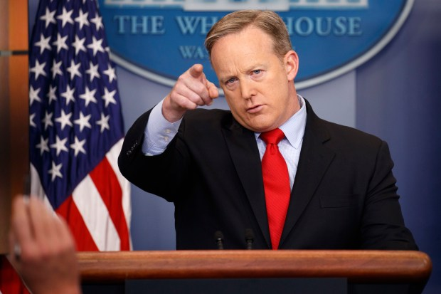 White House press secretary Sean Spicer speaks during the daily press briefing at the White House in Washington, Friday, Feb. 3, 2017. (AP Photo/Evan Vucci)