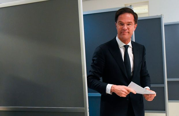 Mark Rutte at a polling station on March 15, 2017 in The Hague. (John Thys, AFP Getty)