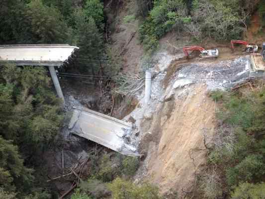 Crews successfully demolished the middle section (span No. 2) of the Pfeiffer Canyon Bridge on Highway 1 in Big Sur on Saturday, Caltrans officials said. Span No. 3 (north section) was demolished on Thursday. Span No. 1 (south section) demolition will begin Monday and is expected to take several days. The bridge was closed in February after mud and rock slides triggered by heavy winter storms caused unrepairable damage. Construction of a replacement bridge is expected to take nine months to a year to complete. For traffic updates on Caltrans projects, call the District 5 at 831-372-0862 or visit www.dot.ca.gov/dist05/paffairs/release.htm#mon. (Caltrans photo)