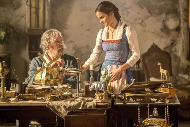 "Emma Watson stars as Belle, and Kevin Kline plays her father, Maurice, in""Beauty and the Beast,"" opening March 17. (Laurie Sparham/Disney)"