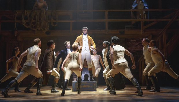 """The cast of the national touring company of """"Hamilton"""" in San Francisco.courtesy of SHN photo credit: Joan Marcus"""