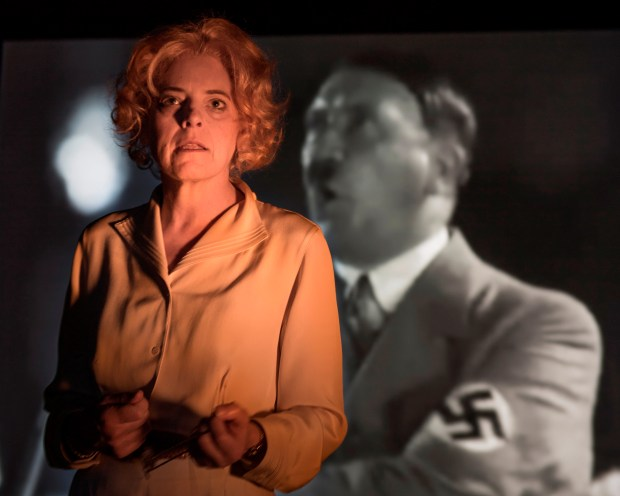 "DAVID ALLEN/AURORA THEATRE COMPANYLeni Riefenstahl (played by Stacy Ross) ponders her relationship with Hitler in Aurora Theatre Company's Bay Area Premiere of ""Leni."""