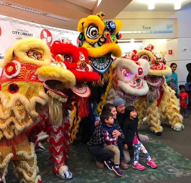 COURTESY SANTA CLARA CITY LIBRARYAt this year's Chinese New Year celebration, traditional lion dancers made their way through the the Santa Clara City Library.