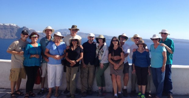 Courtesy of Terri LandonGREECE: A Greek jaunt took 14 Niles Rotarians to Athens, Mykonos, Paros and Santorini, pictured, in October. The group included, from left, Chuck Canada, Carol Smith, Mike and Judy Coleman, Dirk and Lisa Lorenz, Steven and Carolyn Springer, Terri and Steve Landon, Paul and Sue Parhiala, and Sandi and Dick Pantages