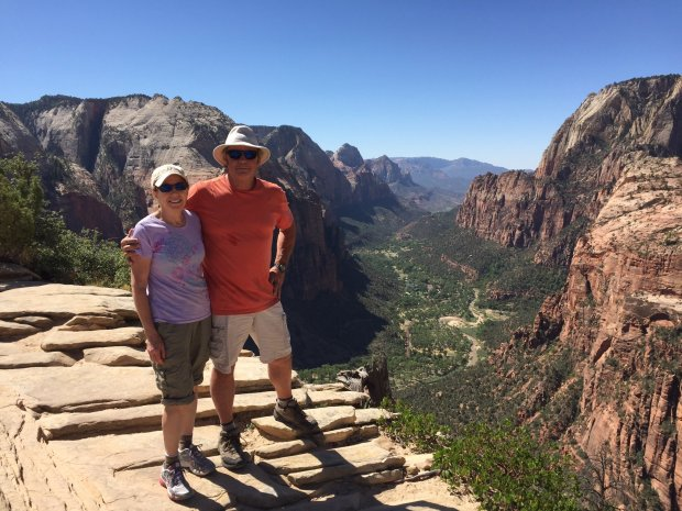 Courtesy of the Mullady FamilyUTAH: Pat and Mike Mullady, from Redwood City, took a six-day trip through Utah's parks, which included a stop at the top of Angels Landing, pictured, in Zion National Park.