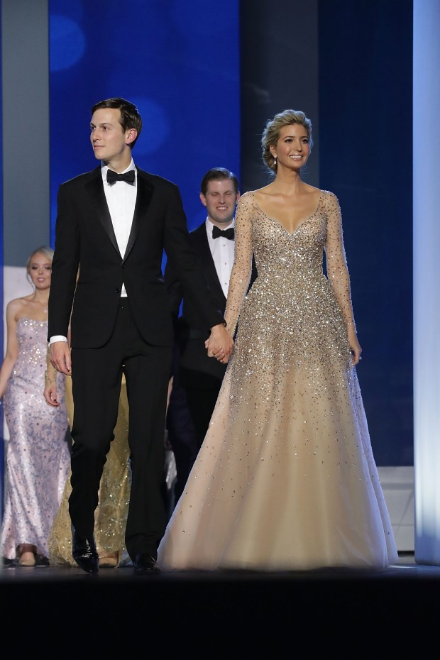 Ivanka Trump and her husband Jared Kushner arrive at the Freedom Ball at the Washington Convention Center January 20. (Photo by Chip Somodevilla/Getty Images)