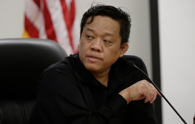President Khanh Tran, member of the ARUESD board of trustees, is photographed during board meeting at Alum Rock Union Elementary School District in San Jose, Calif., on Wednesday, March 29, 2017. (Josie Lepe/Bay Area News Group)