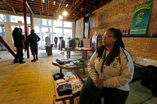 Store manager Brije Gammage is photographed at Marshawn Lynch's store Beastmode in downtown Oakland, Calif., on Friday, March 24, 2017. (Laura A. Oda/Bay Area News Group)