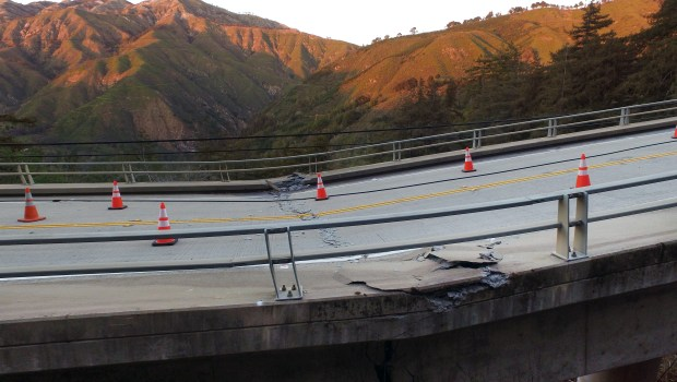Pfeiffer Canyon Bridge on Highway 1 has been closed and condemned due to damage from storms in Big Sur, Calif. on Wednesday, March, 8, 2017. (LiPo Ching/Bay Area News Group)