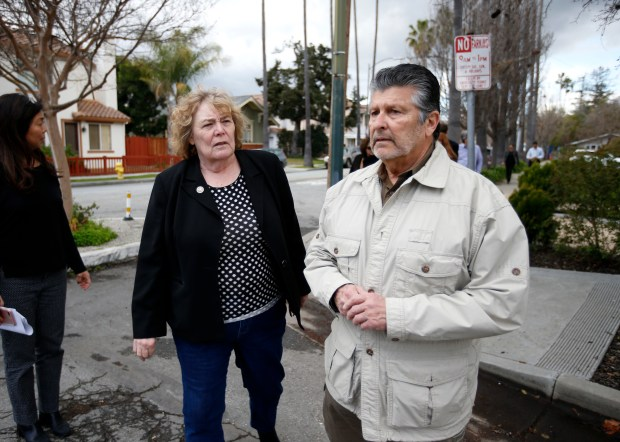 U.S. Rep. Zoe Lofgren, left, D-San Jose, talks with John L. Varela, director district 1, 2017 board chair, with the Santa Clara Valley Water District, as they toured flood affected areas on S. 17th St. in San Jose, Calif. on Monday, March 6, 2017. (Nhat V. Meyer/Bay Area News Group)