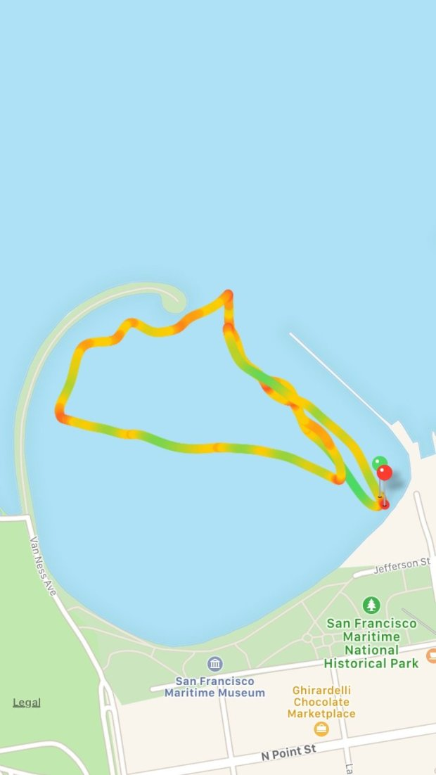 A map of my one-mile Bay swim in San Francisco's Aquatic Park on March 18,charted by the Apple Watch Series 2. The yellow sections are where I was swimming at my average pace, green is above and red is below. In open water mode, the Apple Watch also tracks how far you swim and how many calories you burn.