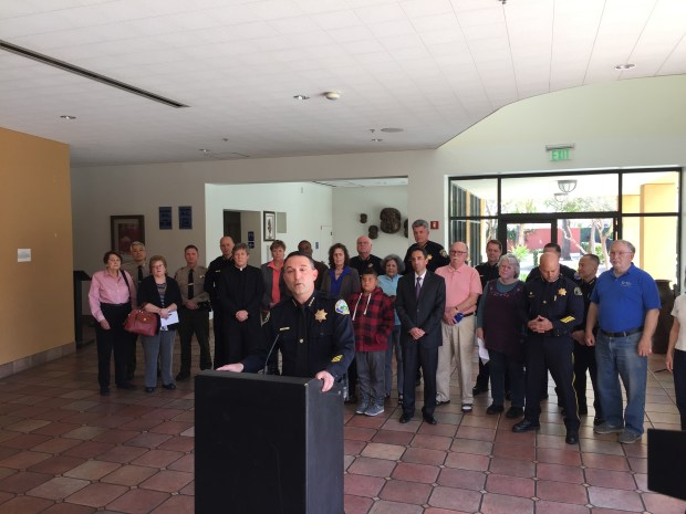 Morgan Hill police Chief David Swing, president of the Santa Clara County Police Chiefs' Association, speaks at a press conference backed by other South Bay chiefs to reaffirm the county's commitment to protecting immigrant residents, at the Mexican Heritage Plaza in San Jose on March 14, 2017.