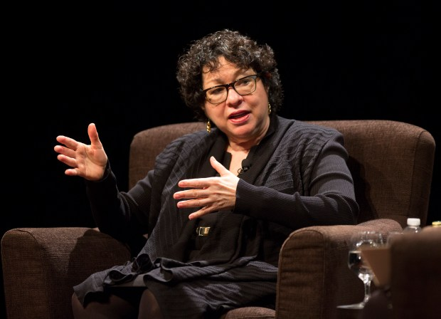Sonia Sotomayor, associate justice of the Supreme Court of the United States, in conversation with M. Elizabeth Magill, dean of Stanford Law School, in Stanford's Memorial Auditorium in Stanford, Calif., Friday, Mar. 10, 2017. (Patrick Tehan/Bay Area News Group)