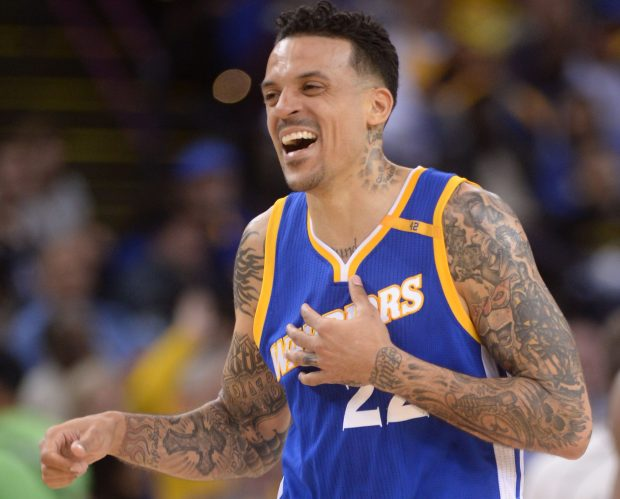 Golden State Warriors' Matt Barnes (22) reacts to having an offensive foul called on him against the Memphis Grizzlies in the fourth quarter of their game at Oracle Arena in Oakland, Calif., on Sunday, March 26, 2017. (Susan Tripp Pollard/Bay Area News Group)