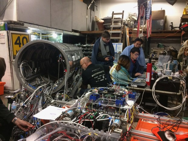 RLoop team members hard at work on its prototype for the SpaceX Hyperloop competition. (Courtesy of rLoop)