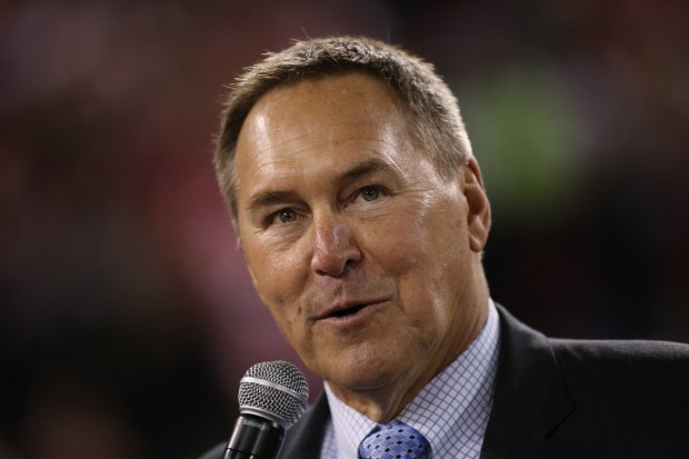 """Dwight Clark talks about """"The Catch"""" during halftime as the San Francisco 49ers played the Atlanta Falcons at Candlestick Park in San Francisco, Calif. on Monday, Dec. 23, 2013. (Jim Gensheimer/Bay Area News Group)"""