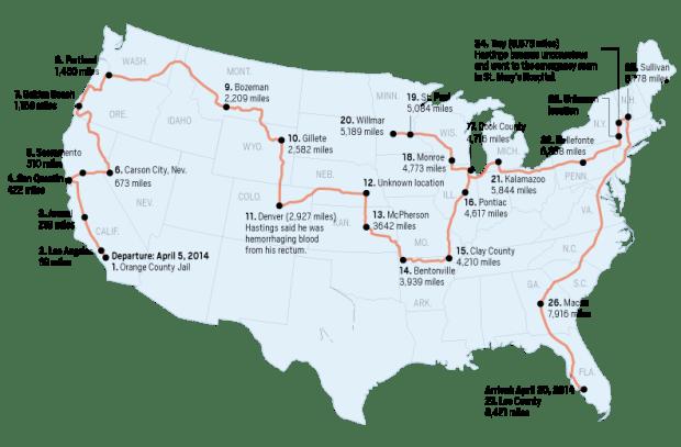 8,000-mile ride in a prison van left California man bleeding