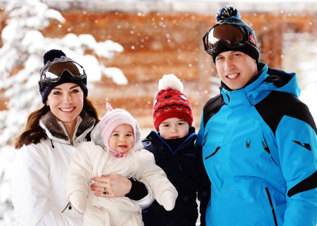 FRENCH ALPS, FRANCE - MARCH 3: (NEWS EDITORIAL USE ONLY. NO COMMERCIAL USE. NO MERCHANDISING) Catherine, Duchess of Cambridge and Prince William, Duke of Cambridge, with their children, Princess Charlotte and Prince George, enjoy a short private skiing break on March 3, 2016 in the French Alps, France. (Photo by John Stillwell - WPA Pool/Getty Images)(TERMS OF RELEASE - News editorial use only - it being acknowledged that news editorial use includes newspapers, newspaper supplements, editorial websites, books, broadcast news media and magazines, but not (by way of example) calendars or posters.)