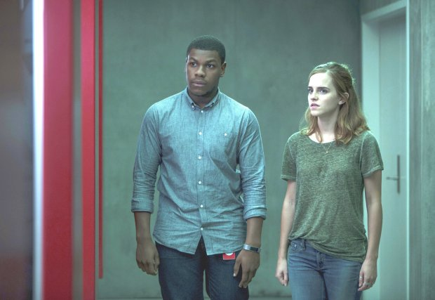 "John Boyega, left, and Emma Watson in ""The Circle."" (Frank Masi/STXFinancing)"