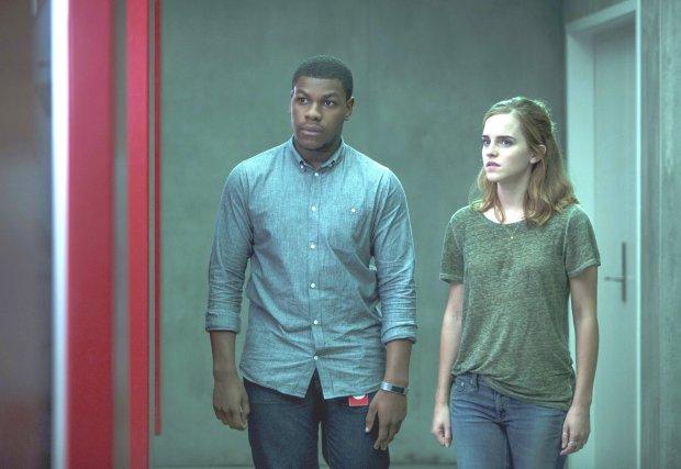 "John Boyega, left, and Emma Watson in ""The Circle."" (Frank Masi/STXFinancing)"
