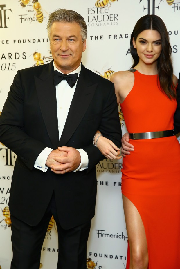 NEW YORK, NY - JUNE 17: Alec Baldwin and Kendall Jenner pose backstage at the 2015 Fragrance Foundation Awards at Alice Tully Hall at Lincoln Center on June 17, 2015, in New York City. (Photo by Astrid Stawiarz/Getty Images for Fragrance Foundation)