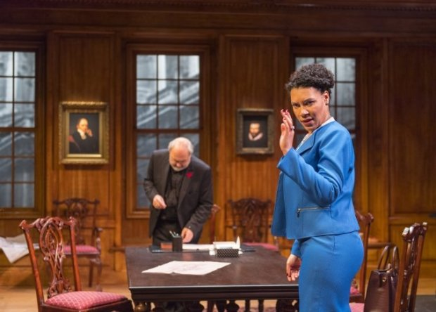 The Dean (Paul Whitworth*) meets with the city lawyer (LeontyneMbele-Mbong) to discuss the process of eviction in Aurora Theatre Company's U.S. Premiere of Temple (photo: David Allen)