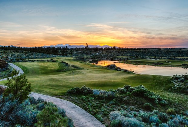 Tetherow is a visual delight, mixing views of the Cascades with emeraldfairways that sluice through fields of wildflowers. This particular view looks west over hole 6. (Photo: Tetherow)