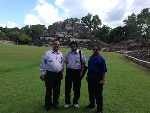 BELIZE: During a recent Panama Canal Cruise, Union City resident GurbachanSingh Dhillon, center, visited Altun Ha with Ram Saroay, left, and Teja Singh. (Courtesy of the Dhillon Family)