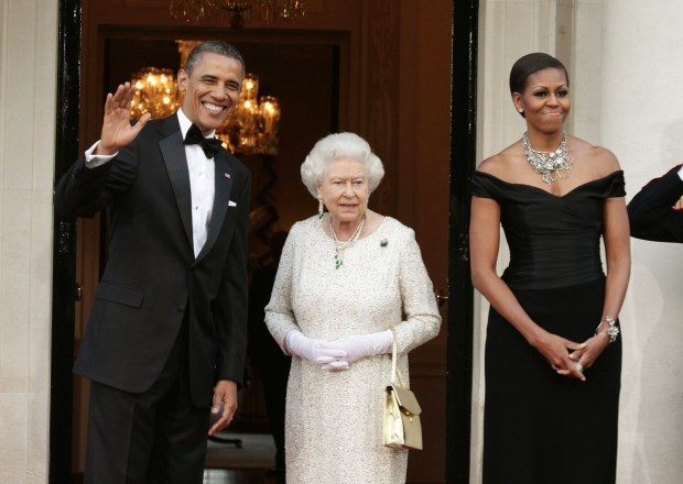 LONDON, ENGLAND - MAY 25: (L-R) U.S. President Barack Obama, Queen Elizabeth II and First Lady Michelle Obama arrive at Winfield House, the residence of the Ambassador of the United States of America, in Regent's Park, on May 25, 2011 in London, England. The 44th President of the United States, Barack Obama, and First Lady Michelle are in the UK for a two day State Visit at the invitation of HM Queen Elizabeth II. Last night they attended a state banquet at Buckingham Palace and today's events include talks at Downing Street and the President will address both houses of Parliament at Westminster Hall. (Photo by Yui Mok - WPA Pool/Getty Images)